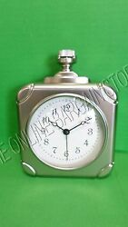Pottery Barn Vintage Square Pocket Watch Shape Desk Table Office Clock Pewter