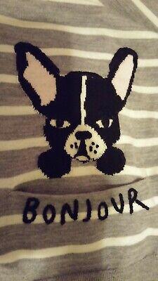 Kate Spade Broome Street Frenchie Dog Bulldog Antoine Gray Cardigan XL NWT Gray