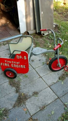 Vintage Child's Silver Rider Angeles Fire Chief No. 5 Fire Engine Tricycle Trike (Used - 400 USD)