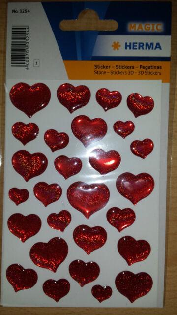 HERMA Sticker Rote Herzen - Aufkleber zum Dekorieren