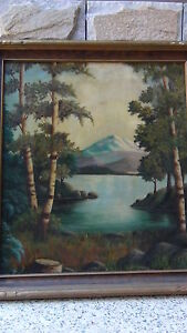 MAX-COX-SIGNED-ORIGINAL19c-OIL-ON-BOARD-PAINTING-MOUNTAINS-A-LAKE-ON-DISTANCE