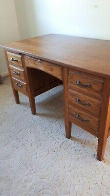 Vintage  Solid Oak Twin Pedestal Desk