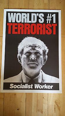 GEORGE BUSH WORLD'S no1 TERRORIST POSTER - STOP THE WAR COALITION IRAQ 2003
