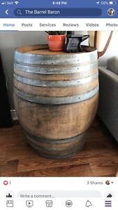 Refinished wine barrels