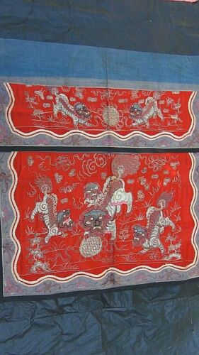 ANTIQUE 19c CHINESE SILVER TREAD SILK EMBROIDERY FOO-LION FAMILY ALTAR BANNER