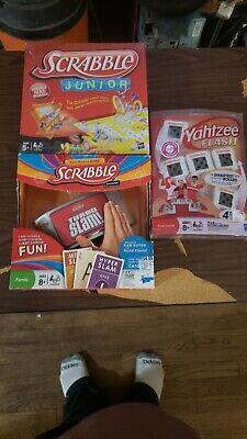 Scrabble Jr., Scrabble Turbo Slam, & Yahtze Flash Board Game