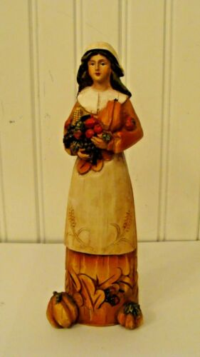 "Beautiful Resin Thanksgiving Pilgrim Figurine 7.2"" tall"
