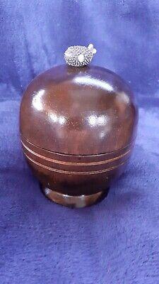 Exotic Hardwood Pot With White Metal Fish Detail Finial