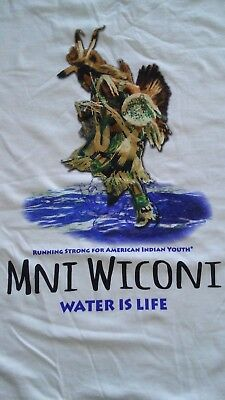 VINTAGE NATIVE AMERICAN INDIAN YOUTH WATER IS LIFE T SHIRT..SIZE -