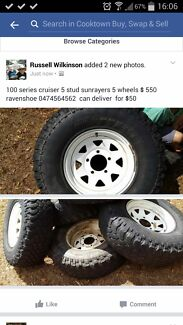 100 series cruiser 5 stud tyres good  $ 550 Tablelands Preview