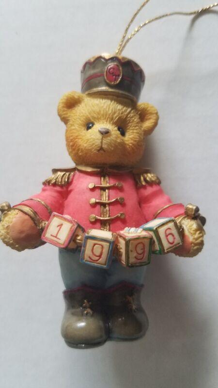 Cherished Teddies Christmas Ornament Soldier Blocks say 1996 Vintage