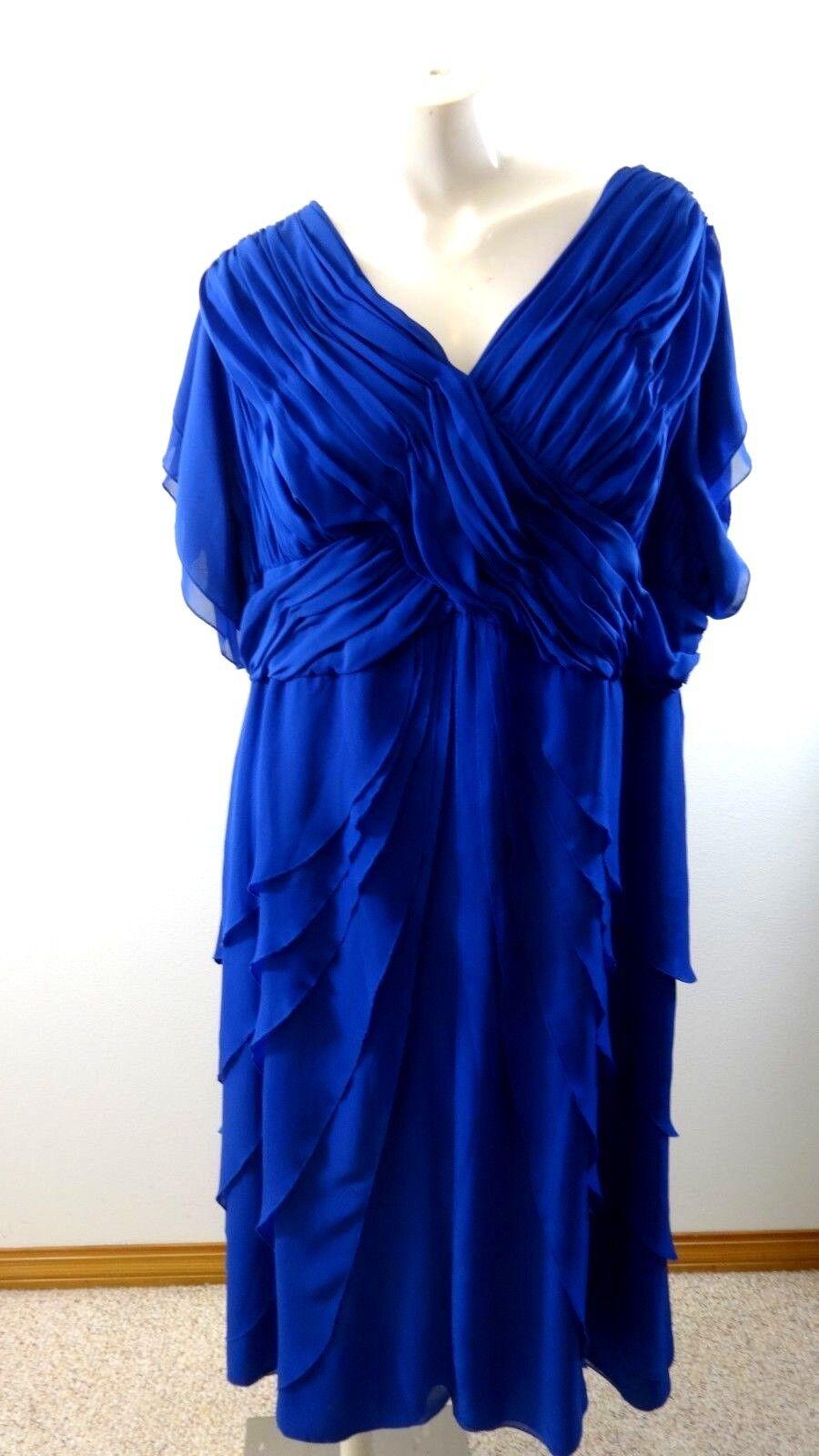 details zu roaman's damen königsblau rüschen party oder brautmutter kleid  größe 24w