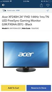 ACER GAMING MONITOR 144hz 1 ms Like new only 250$