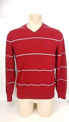 Striped V-neck Pullover (Tommy Hilfiger Pullover Sweater Striped V Neck Red Gray Mens Sz Medium M)