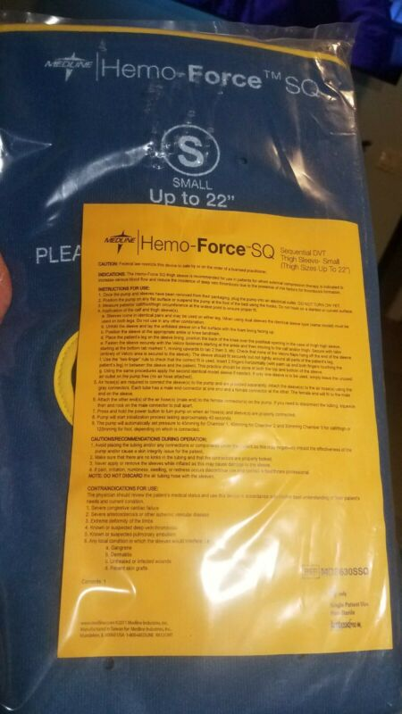 Medline Hemo-Force SQ Sequential DVT Thigh Sleeve Pair - Small- MDS630SSQ - NEW