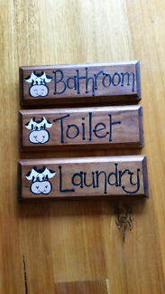 Timber bathroom toilet and laundry door plaques