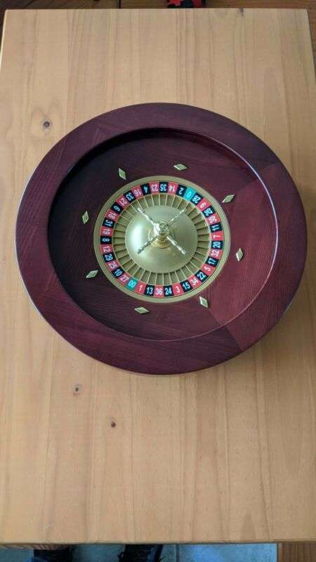"19.5"" Casino Grade Deluxe Wooden Roulette Wheel GROU-003 Red/Brown Mahogany"