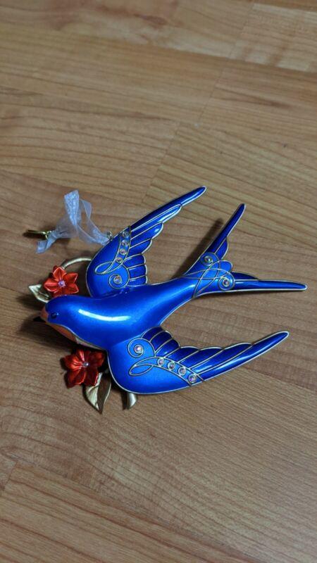 2017 Hallmark Keepsake Stunning Swallow Bird Premium Enameled Metal New In Box.