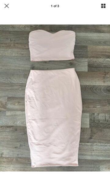 Kookai pink two piece strapless dress skirt boob tube  93d14a600