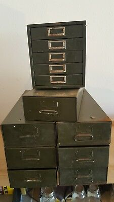 Safe-t-stak Vintage Industrial Metal Drawers Army Green 8 Cabinets Total
