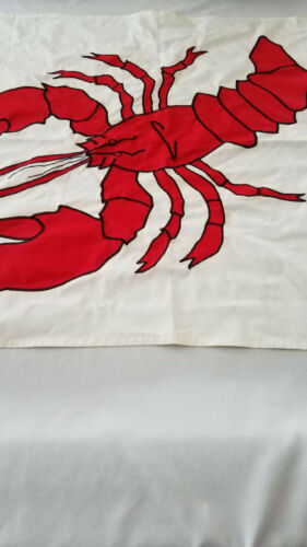 LOBSTER Banner WALL HANGING  MAINE CAPE COD SUMMER Hand Stitched 51.5 x 33
