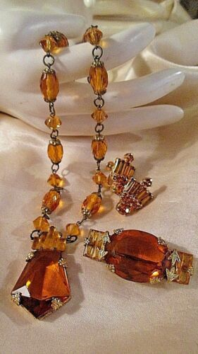 VINTAGE ART DECO AMBER RHINESTONE ~Pendant Necklace ~Brooch~ Earrings! GORGEOUS!