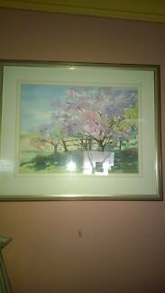 Painting. Pink tree. Size approx w55xh48. Water paint? Glass Miranda Sutherland Area Preview