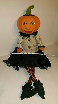 RARE Candy Corn Lane Halloween Primitive Pumpkin Head Fabric Doll Shelf Sitter