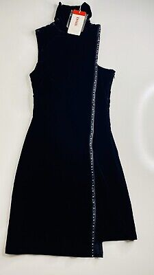 NWT Versace Jeans Couture Black Beaded Dress Size S