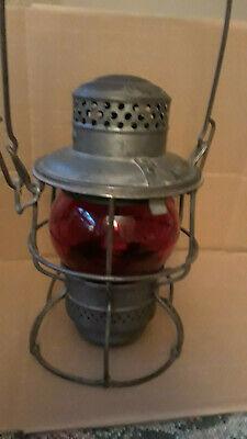 PRR Antique Adlake-Kero USA CANADA 1921-1923 Pats Pending RR Lantern Red (Glasses Usa Canada)