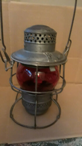 PRR Antique Adlake-Kero USA CANADA 1921-1923 Pats Pending RR Lantern Red Glass