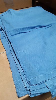 24 Premium Blue Huck Towels Glass Cleaning Janitorial Lintless Surgical Towels