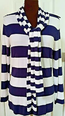 Tunic scarf 2pc knit sweater Long sl Navy/white striped pullover M 8 Top crew nc