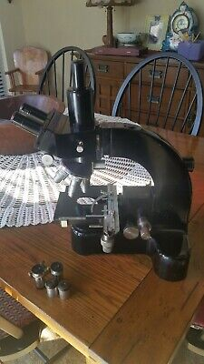 Early E Leitz Leica Ortholux Trinocular Microscope Extras 2 Lights Eyepieces