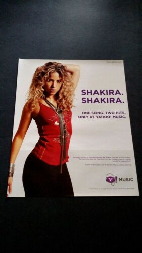 SHAKIRA ONE SONG,TWO HITS,ONLY AT YAHOO! RARE ORIGINAL PRINT PROMO POSTER AD