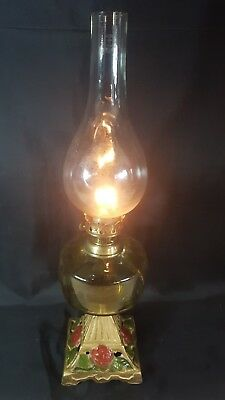 "Vintage 20.25"" High Cast Iron Based with Amber Glass Oil Bowl and Brass Oil Lamp"