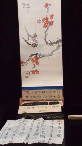 UNUSUAL VINTAGE JAPANESE WATERCOLOR SCROLL PAINTING W/ 8 INDIVIDUAL SEAL