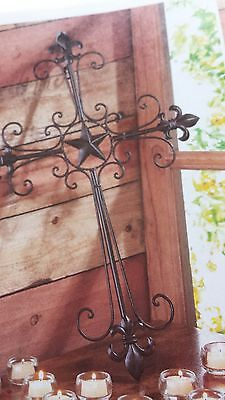 LONE STAR HANGING WALL CROSS WROUGHT IRON DECOR-14576
