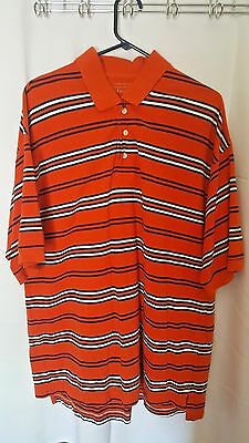 St. Johns Bay Men XL Orange Navy White Stripe Yarn Dye Knit Polo Cotton C79