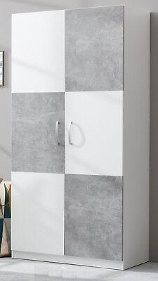 Kleiderschrank Jugend Kinder Zimmer in weiß Beton grau Schrank 90 x 193 Canaria