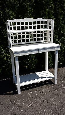 Pflanztisch weiß Gartentisch Grilltisch Gartenmöbel Arbeitstisch Anrichte