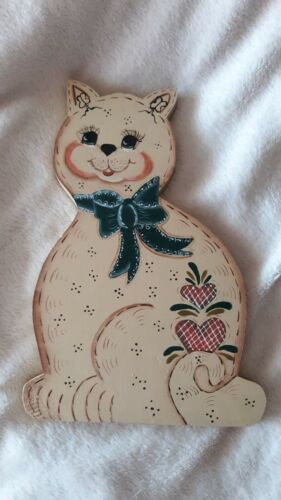 Rustic Hand Painted Wooden Cat