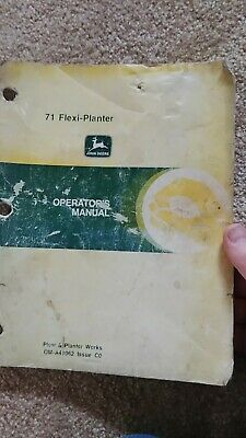 Genuine John Deere 71 Flexi Planter Operators Manual Very Good Shape
