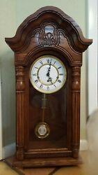 Sligh 0702-1-AB Carved Oak Triple Chime Wall Clock Franz Hemle Movement Key