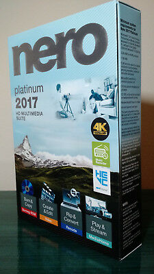 Nero 2017 Platinum, Windows 10 Supported, New Factory Sealed Box