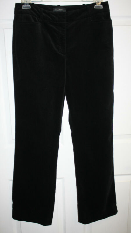 Womens Ladies Talbots Black Faux Velvet Casual Pants Size 10