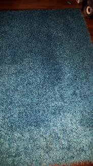 Thick Shaggy Teal Blue Floor Rug