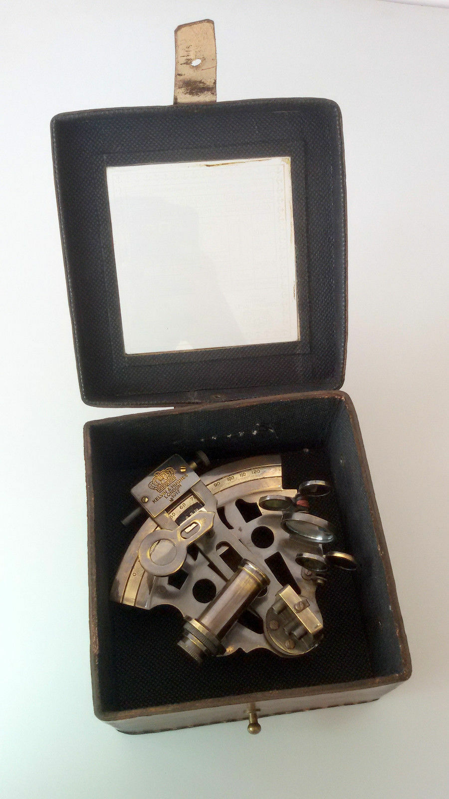 Antique Nautical Sextant w/ Leather Case Navigation Working Brass Sextant Marine