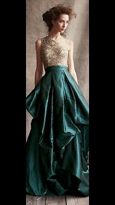 womens teal one shoulder Naeem Khan gown/dress size 6/8