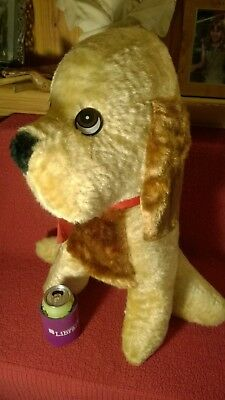 "Vintage 23"" Genie Toys FAIR PRIZE? DOG brown tan red collar plush stuffed animal"